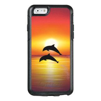 Pares de los delfínes de la puesta del sol del funda otterbox para iPhone 6/6s