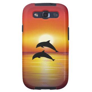 Pares de los delfínes de la puesta del sol del océ galaxy SIII carcasa