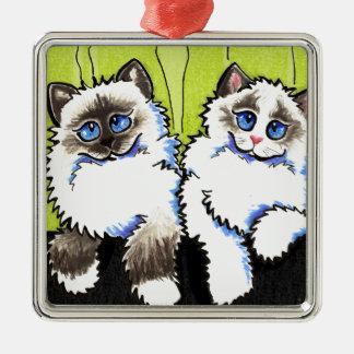 Pares de los gatos de Ragdoll de Apagado-Correo Adorno Navideño Cuadrado De Metal