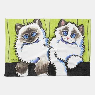 Pares de los gatos de Ragdoll de Apagado-Correo Ar Toallas
