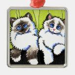 Pares de los gatos de Ragdoll de Apagado-Correo Ornamentos De Navidad