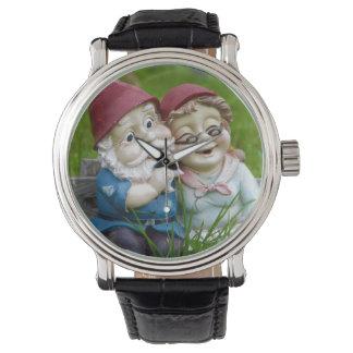 Pares de los gnomos del jardín relojes de pulsera