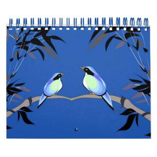 Pares de los pájaros azules - cuaderno - calendario