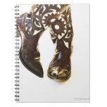 Pares de los zapatos 2 del vaquero libros de apuntes con espiral