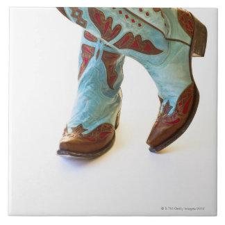 Pares de los zapatos 3 del vaquero azulejo cuadrado grande