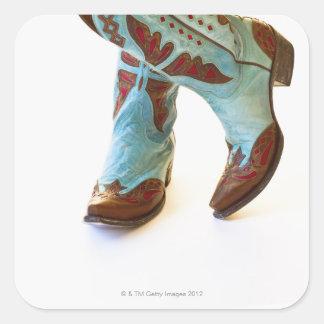 Pares de los zapatos 3 del vaquero pegatina cuadrada