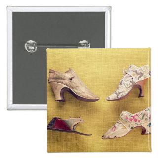 Pares de los zapatos bordados, c.1714 pin cuadrado