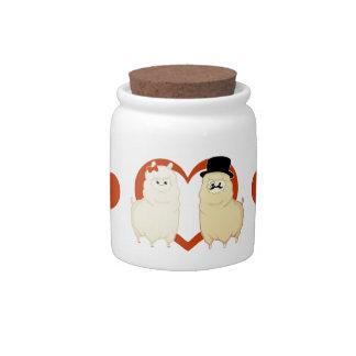 Pares de lujo lindos de la alpaca jarras para caramelos