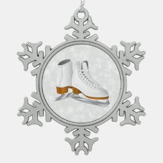 pares de ornamento blanco del copo de nieve del adorno de peltre en forma de copo de nieve