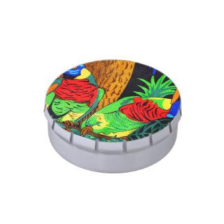 Pares de Parakeets coloridos Frascos De Dulces