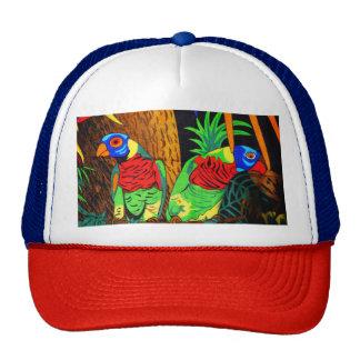 Pares de Parakeets coloridos Gorras De Camionero