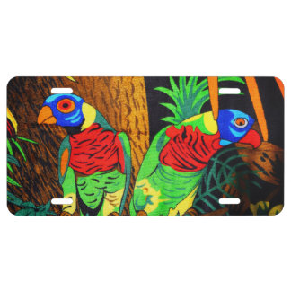 Pares de Parakeets coloridos Placa De Matrícula