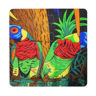 Pares de Parakeets coloridos Posavasos De Puzzle