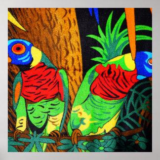 Pares de Parakeets coloridos Póster
