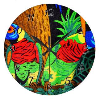Pares de Parakeets coloridos Reloj Redondo Grande