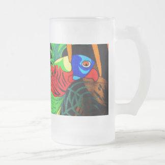 Pares de Parakeets coloridos Taza De Cristal
