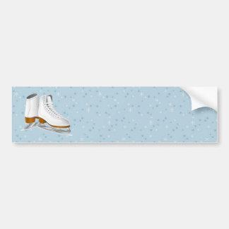 pares de patines de hielo blancos pegatina para auto