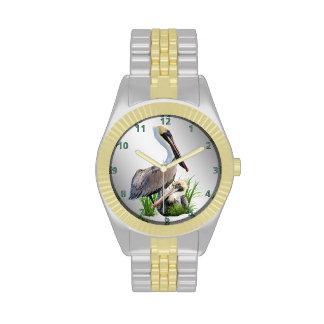 Pares de pelícanos de Brown personalizable Reloj De Mano