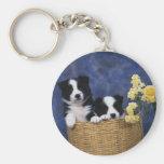 Pares de perritos en una cesta llaveros personalizados