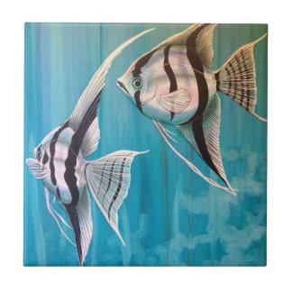 Pares de pintura de aceite de pescado del ángel nú azulejo ceramica