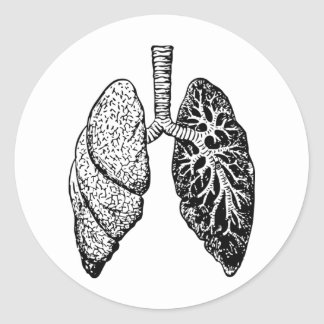 pares de pulmones pegatina redonda