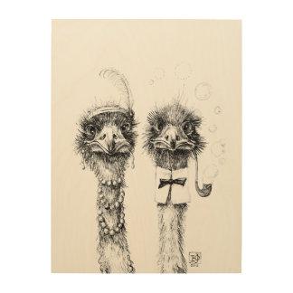 Pares de Sr. y de señora Ostrich del boda Impresión En Madera