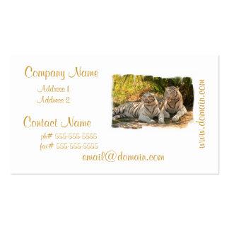 Pares de tarjetas de visita blancas de los tigres
