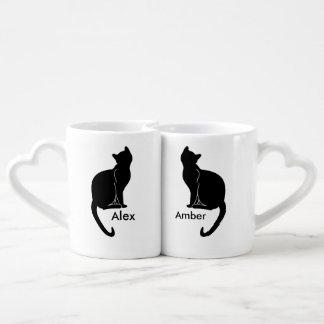 Pares de taza del amor de los gatos tazas amorosas