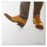 Pares de zapatos del vaquero azulejo cuadrado grande