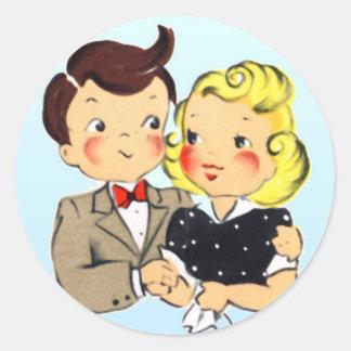 Pares del aniversario del vintage pegatina redonda