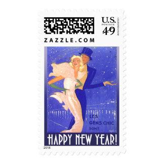 Pares del art déco de la Feliz Año Nuevo del Estampillas