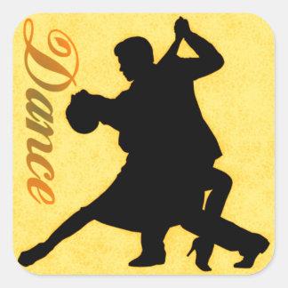Pares del baile de la silueta pegatina cuadradas personalizadas