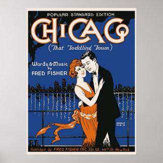 pares del baile del estilo de los años 20, música póster