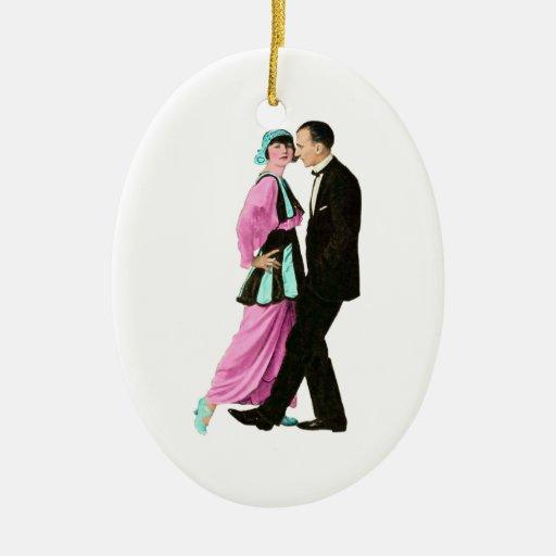 pares del baile del vintage de los años 20 adorno navideño ovalado de cerámica