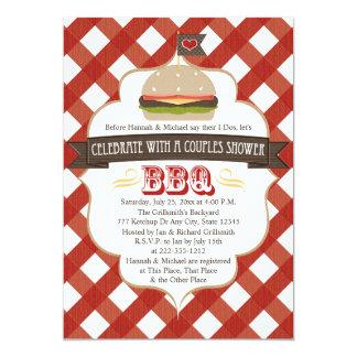 Pares del Bbq de la hamburguesa que casan Invitación 12,7 X 17,8 Cm