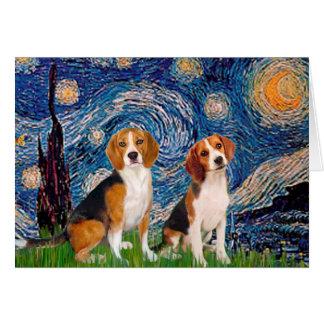 Pares del beagle - noche estrellada tarjeton
