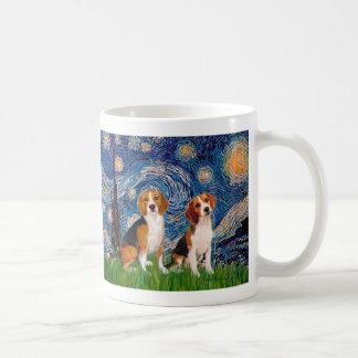 Pares del beagle - noche estrellada tazas de café