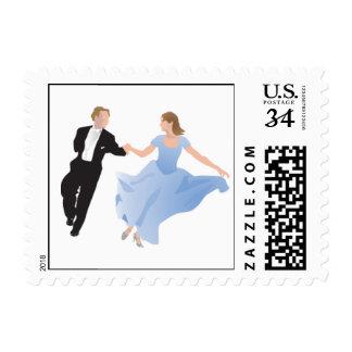 Pares del boda del baile de la postal timbres postales