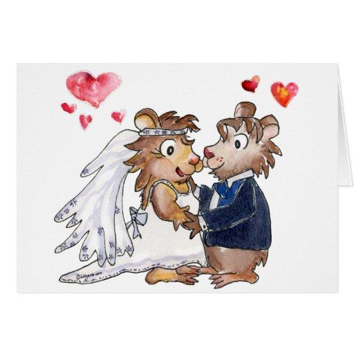 Pares del boda del dibujo animado felicitaciones