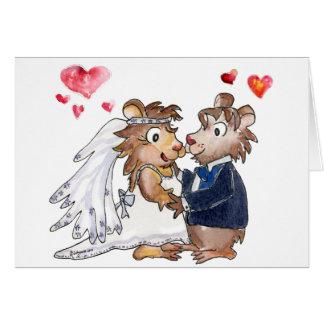 Pares del boda del dibujo animado tarjeta de felicitación