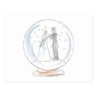 Pares del boda del globo de la nieve tarjetas postales