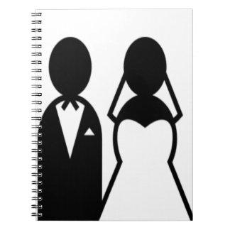 Pares del boda del icono libreta