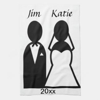Pares del boda del icono toallas de cocina