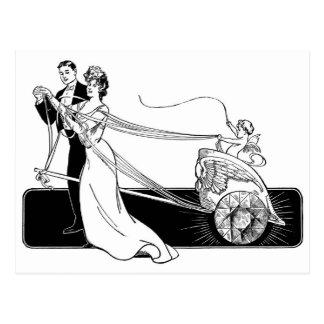 Pares del boda del vintage postal
