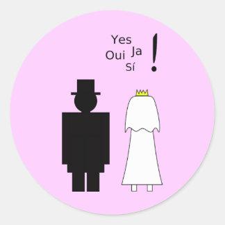 Pares del boda pegatina redonda
