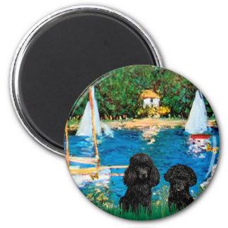 Pares del caniche (negro) - veleros imán redondo 5 cm
