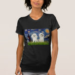 Pares del caniche (w) - noche estrellada camiseta