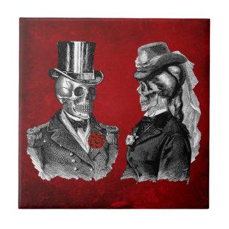 Pares del esqueleto del cráneo del Grunge Azulejo Cuadrado Pequeño