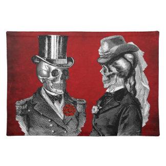 Pares del esqueleto del cráneo del Grunge Manteles