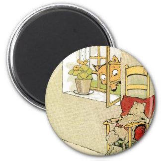 Pares del Fox a través de la ventana en el ratón Imán Redondo 5 Cm
